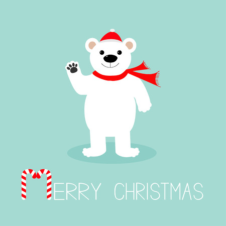 Big white polar bear in santa claus hat and scarf, paw. Candy cane. Merry Christmas Greeting Card. Blue background. Flat design Vector illustration