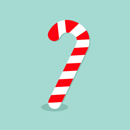 peppermint candy: Merry Christmas Candy Cane. Isolated. Flat design. Blue background. Vector illustration