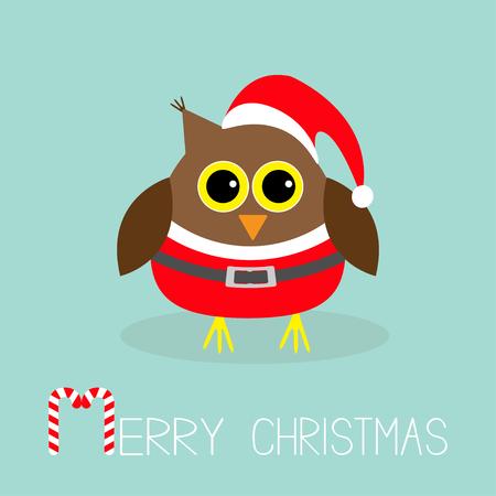 design costume: Cute owl in Santa Claus costume, hat. Snowflakes. Merry Christmas Card. Flat design. Vector illustration.