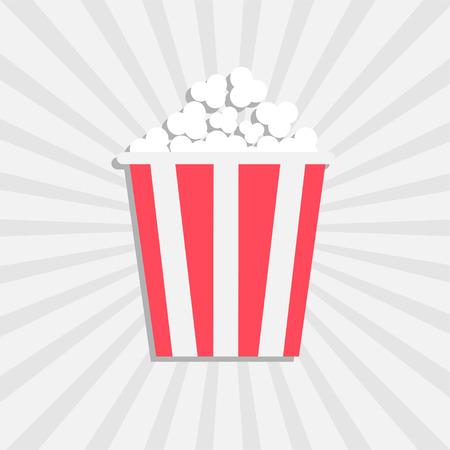 palomitas: Palomitas de maíz. Icono del cine en el estilo de diseño plano. Aislado. Starburst fondo blanco. ilustración vectorial
