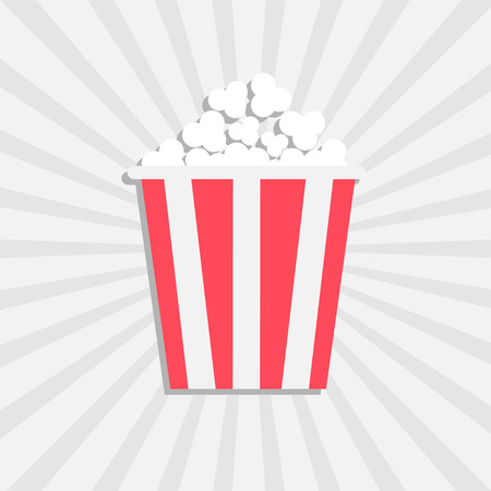 Popcorn. Cinema icon in flat design style. Isolated. White starburst background. Vector illustration Stock Illustratie