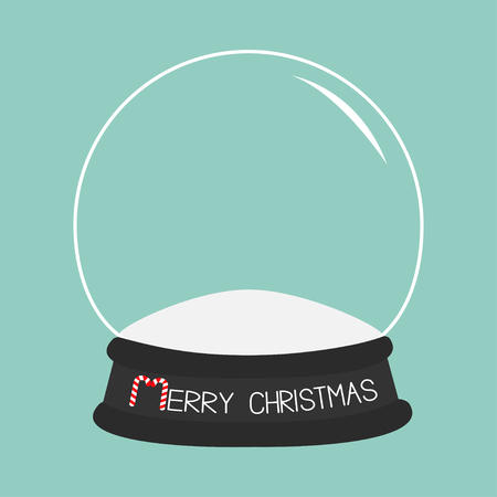 winter holidays: Empty crystal ball. Template. Merry Christmas card Flat design Blue background. Vector illustration