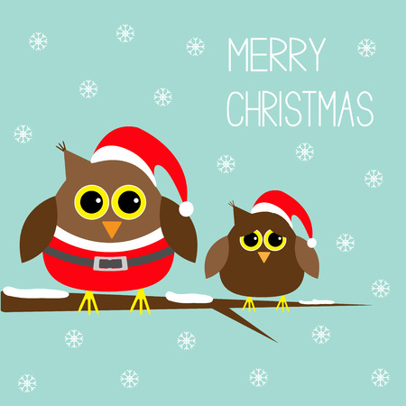 christmas costume: Two cute owls. Santa Claus costume and hat. Snowflakes. Merry Christmas Card. Flat design. Vector illustration.