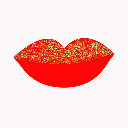 plump lips: Big full thick red lips with gold glitter on white background. Isolated Flat design Vector illustration
