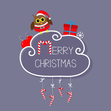 candycane: Owl in Santa hat, giftbox, snowflake, ball. Merry Christmas card. Hanging Candy Cane. Dash line with bow. Flat design. Violet background. Vector illustration
