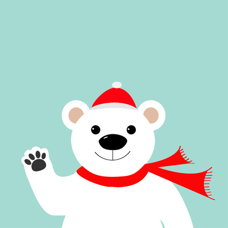 oso caricatura: Gran oso polar blanco en el sombrero de Papá Noel y una bufanda, agitando la mano pata Feliz Navidad. fondo azul. Diseño plano ilustración vectorial