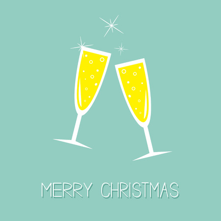 Champagne glasses with sparkles. Greeting Card. Flat design. Merry Christmas. Blue background. Vector illustration Çizim