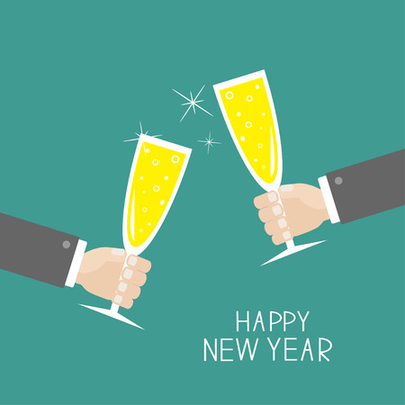 Hand holding champagne glasses with sparkles. Greeting Card. Happy New Year. Flat design. Blue background. Vector illustration Stok Fotoğraf - 49457809