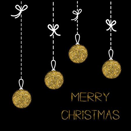metall and glass: Hanging christmas balls. Dash line with bows. Gold glitter. Merry Christmas greeting card. Black background. Vector illustration Illustration
