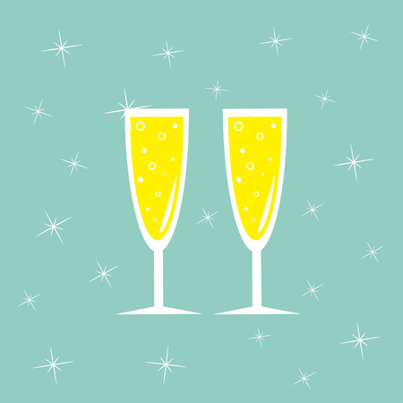 Champagne glasses with sparkles. Greeting Card. Blue background.  Flat design. Vector illustration