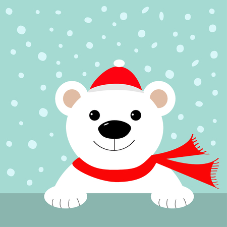 Big white polar bear in santa claus hat and scarf. Merry Christmas Greeting Card. Blue background with snow. Flat design Vector illustration