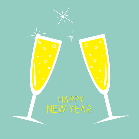 Champagne glasses with sparkles. Greeting Card. Happy New Year. Flat design. Blue background.  Vector illustration Stok Fotoğraf - 49457824