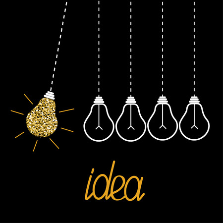 metall and glass: Hanging gold glitter light bulbs. Dash line. Perpetual motion. Idea concept. Vector illustration. Illustration