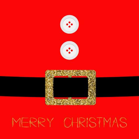 ombligo: Escudo con la piel, los botones y cinturón de brillo del oro de Santa Claus. Tarjeta de la Feliz Navidad de fondo Diseño plano Ilustración del vector Vectores