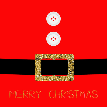 Santa Claus Coat with fur, buttons and gold glitter belt. Merry Christmas background card Flat design Vector illustration