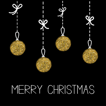 metall and glass: Four hanging christmas balls. Dash line with bows. Gold glitter. Merry Christmas greeting card. Black background. Vector illustration