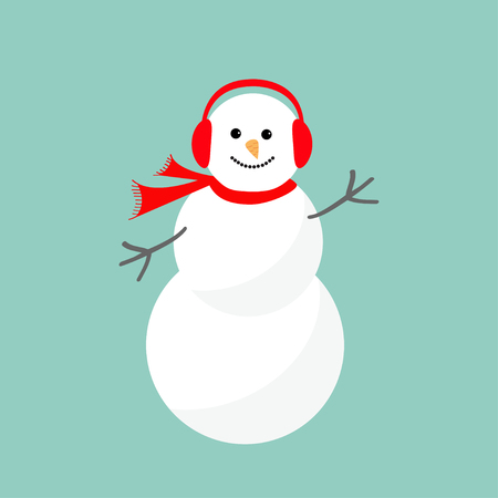 snowman christmas: Cartoon Snowman in scarf and headphones. Blue background. Merry Christmas card Flat design Vector illustration