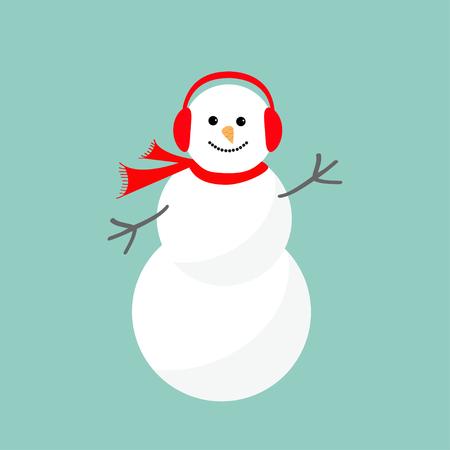 Snowman cartoon in sjaal en een koptelefoon. Blauwe achtergrond. Vrolijke Kerstkaart Flat design Vector illustratie Stock Illustratie