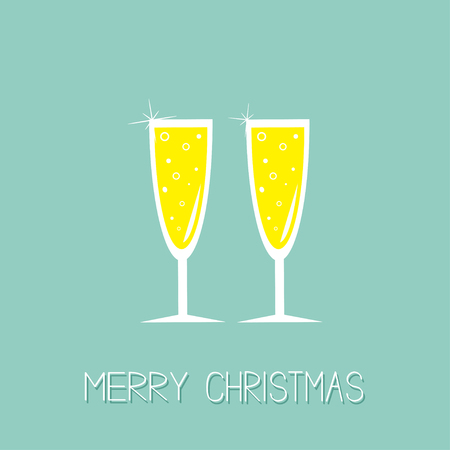 Two hampagne glasses with sparkles. Greeting Card. Flat design. Merry Christmas. Blue background. Vector illustration Stok Fotoğraf - 49457841