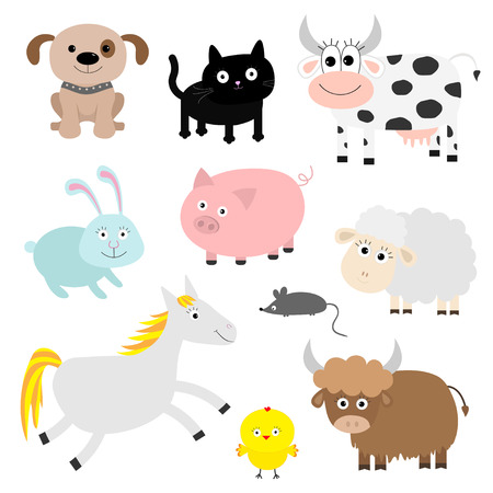 cat and mouse: Farm animal set. Dog, cat, cow, rabbit, pig, ship, mouse, horse, chiken, bull. Baby background. Flat design style. Vector illustration Illustration