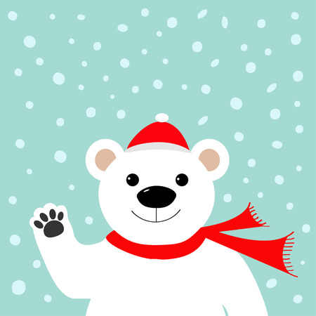 claus: Big white polar bear in santa claus hat and scarf, waving hand paw.  Merry Christmas Greeting Card. Blue background with snow. Flat design Vector illustration Illustration