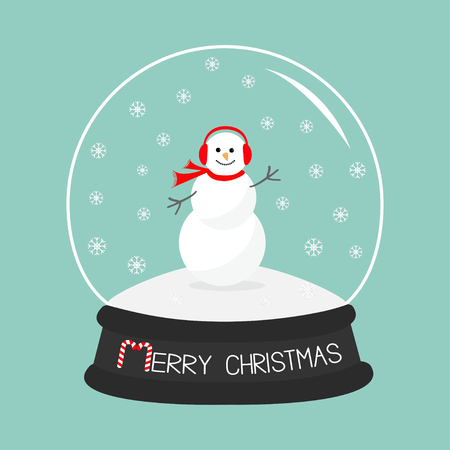 snowdrift: Cartoon Snowman, scarf and headphones on snowdrift  Crystal ball with snowflakes.  Blue background. Merry Christmas card Flat design Vector illustration