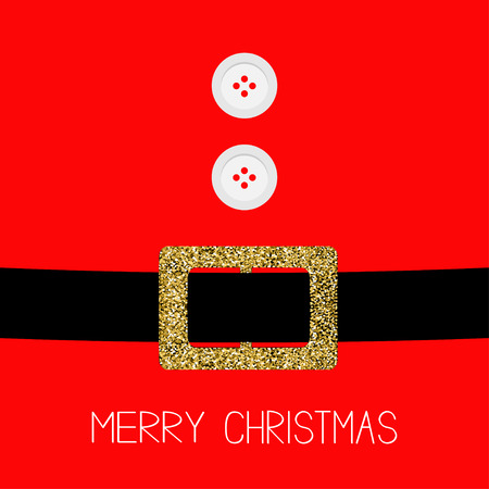 belly button: Santa Claus Coat with fur, buttons.  Gold glitter belt. Merry Christmas background card Flat design Vector illustration Illustration