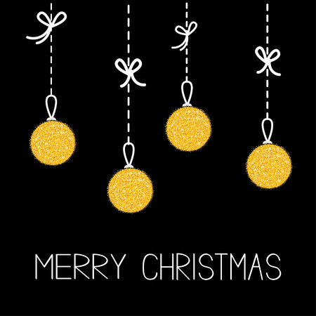 gold christmas background: Hanging christmas balls. Dash line with bows. Merry Christmas greeting card. Gold glitter.  Black background. Vector illustration