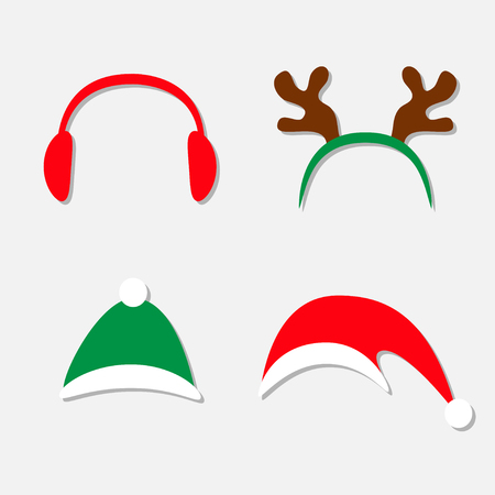 Christmas hat set. Antlers of a deer Red Headphones Isolated White background Flat design Vector illustration