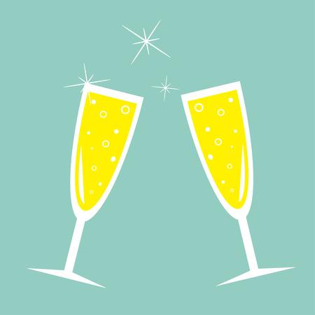 Two hampagne glasses with sparkles. Greeting Card. Flat design. Blue background. Vector illustration Stok Fotoğraf - 49457869