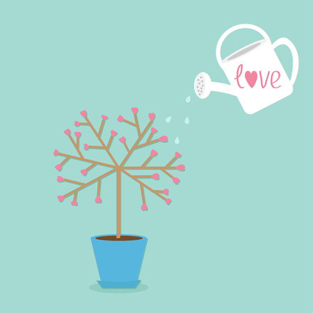 watering pot: Love tree in the pot. Heart flower. Watering can. Word love Blue background. Flat design Vector illustration Illustration