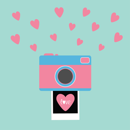 Camera Instant photo Flat design style. Pink hearts. Love card. Blue background Vector illustration