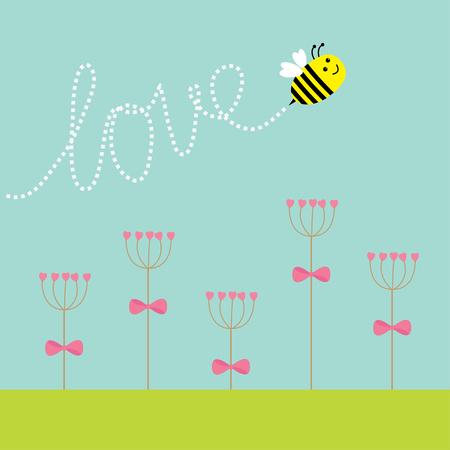 grass line: Heart stick flower set and flying bee. Green grass. Dash line word Love. Flat design. Vector illustration.