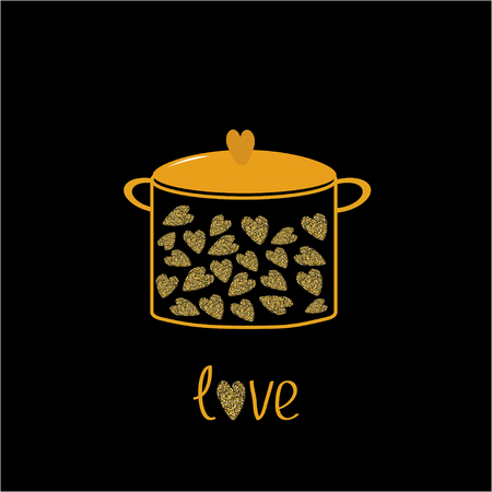 dust pan: Pot with hearts. Love card.  Gold sparkles glitter texture Black background Vector illustration