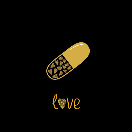 rich in vitamins: Medical pill with hearts inside. Love card. Gold sparkles glitter texture Black background Vector illustration