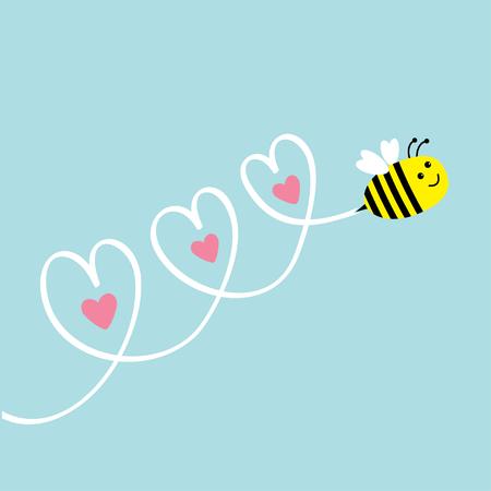 かわいい飛んでいる蜂。空の 3 つの心。グリーティング カード。赤ちゃんの背景。フラットなデザイン。ベクトルの図。