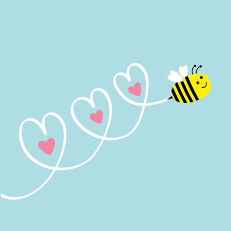 Cute flying bee. Three hearts in the sky. Greeting card. Baby background. Flat design. Vector illustration.