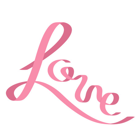 pink satin: Pink satin ribbon in shape of word Love. Flat design. White background. Isolated. Vector illustration