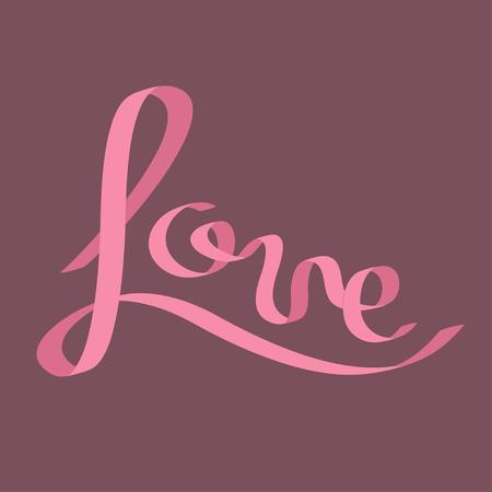 pink satin: Pink satin ribbon in shape of word Love. Calligraphic. Flat design. Violet background. Vector illustration