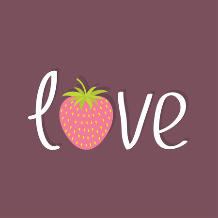 cute kids: Word Love with strawberry and leaf. Flat design Happy Valentines day card. Violet background. Vector illustration