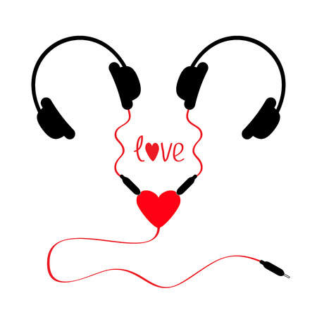 splitter: Two headphones. Earphones couple Audio splitter adapter heart. Red cord. Word love. White background. Isolated. Flat design. Vector illustration