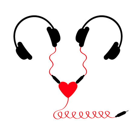 adapter: Two headphones. Earphones couple Audio splitter adapter heart. Red spiral cord. Love card. White background. Isolated. Flat design. Vector illustration