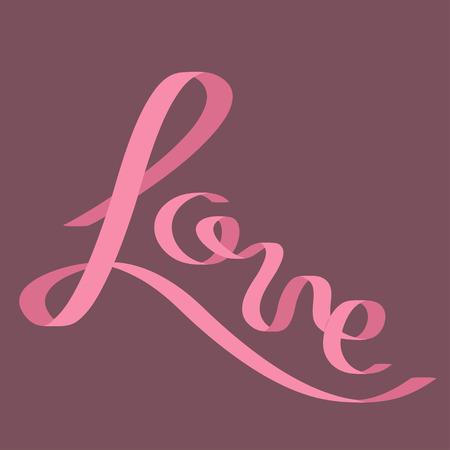 pink satin: Pink satin ribbon in shape of word Love.  Flat design. Violet background. Vector illustration