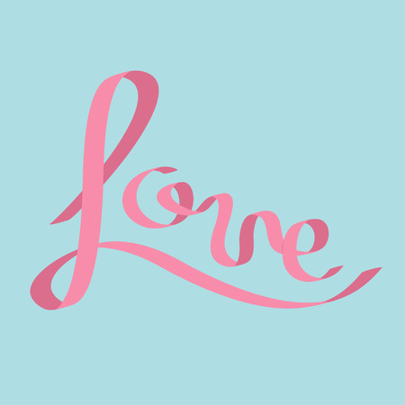 pink satin: Pink satin ribbon in shape of word Love. Calligraphic. Flat design. Blue background. Vector illustration Illustration