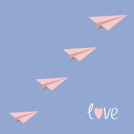 serenity: Origami paper plane flying in the sky. Love card. Flat design. Serenity, pink rose quartz color. Vector illustration