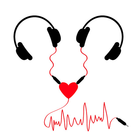 adapter: Two headphones. Earphones couple Audio splitter adapter heart. Red music wave cord. Love greeting card. White background. Isolated. Flat design. Vector illustration