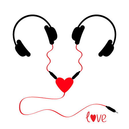 adapter: Two headphones. Earphones couple Audio splitter adapter heart. Red cord. Love greeting card. White background. Isolated. Flat design. Vector illustration Illustration