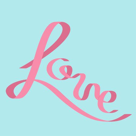 pink satin: Pink satin ribbon in shape of word Love. Flat design. Blue background. Vector illustration