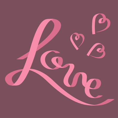 pink satin: Pink satin ribbon in shape of word Love. Three hearts. Flat design. Violet background. Vector illustration