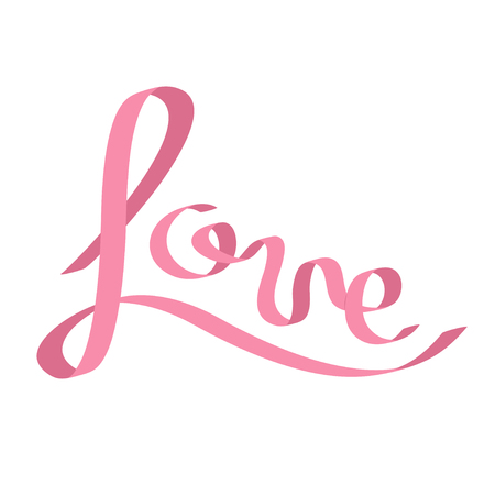 fourteen: Pink satin ribbon in shape of word Love. Calligraphic. Flat design. White background. Isolated. Vector illustration